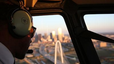 Helicopter passenger over Dallas Texas