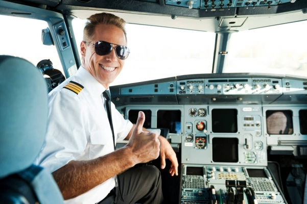 Airplane Captain in the cockpit