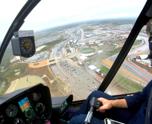 Helicopter charter to Circuit of the Americas in Austin