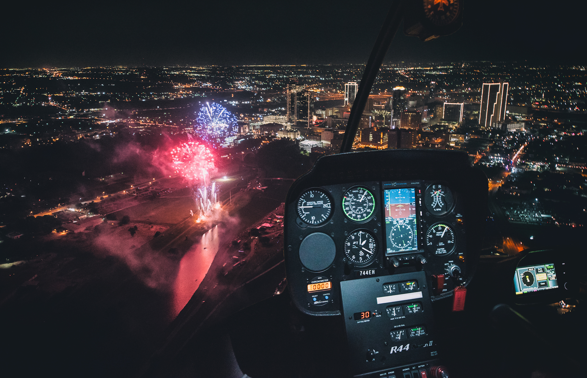 Fireworks Display from a helicopter
