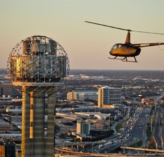 Helicopter at Reunion Tower Dallas Tour